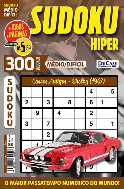 Sudoku Hiper Ed. 62 - Médio/Difícil - Só Jogos 9x9 - Período - Carros Antigos - Shelby (1967)   - EdiCase Publicações