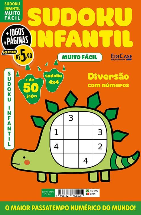Sudoku Infantil Ed. 01 - Muito Fácil - Jogos 4x4 - 1 Jogo Por Página - Tema: Dinossauro  - EdiCase Publicações