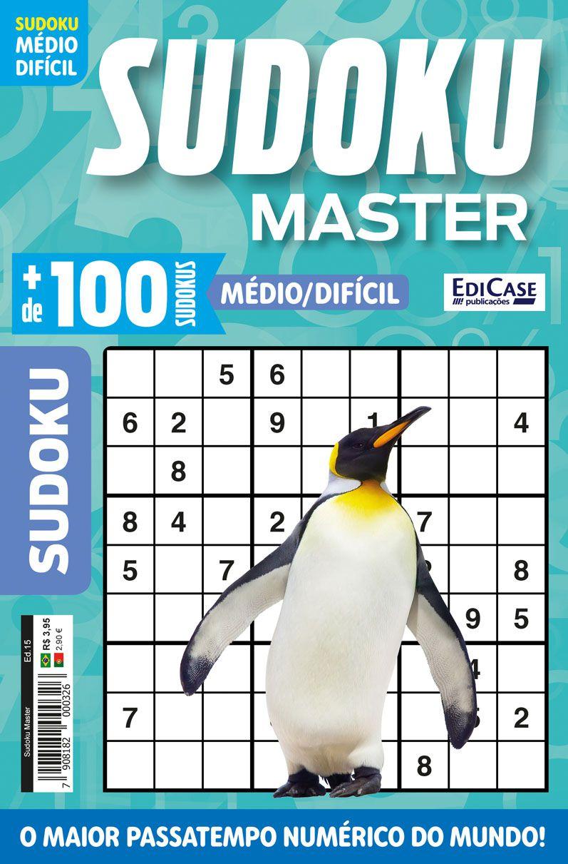 Sudoku Master Ed. 15 - Médio/Difícil - Só jogos 9x9  - EdiCase Publicações