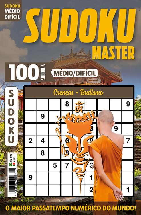 Sudoku Master Ed. 25 - Médio/Difícil - Só jogos 9x9 - Crenças - Budismo   - EdiCase Publicações