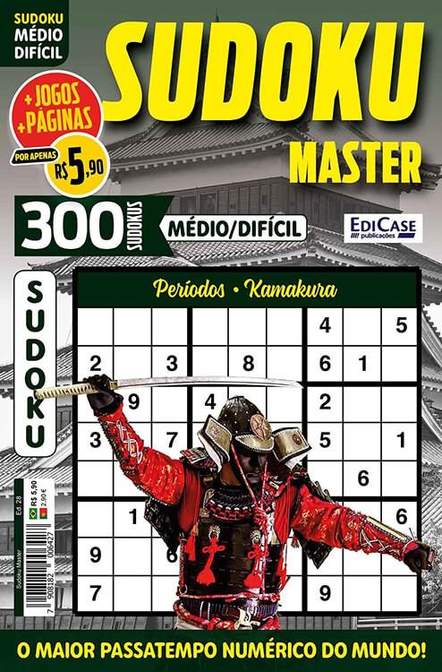 Sudoku Master Ed. 28 - Médio/Difícil - Só jogos 9x9 - Períodos - Kamakura    - EdiCase Publicações