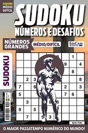 Sudoku Números e Desafios Ed. 120 - Médio/Difícil - Só Jogos 9x9 - Números Grandes - Apolo/Febo  - EdiCase Publicações