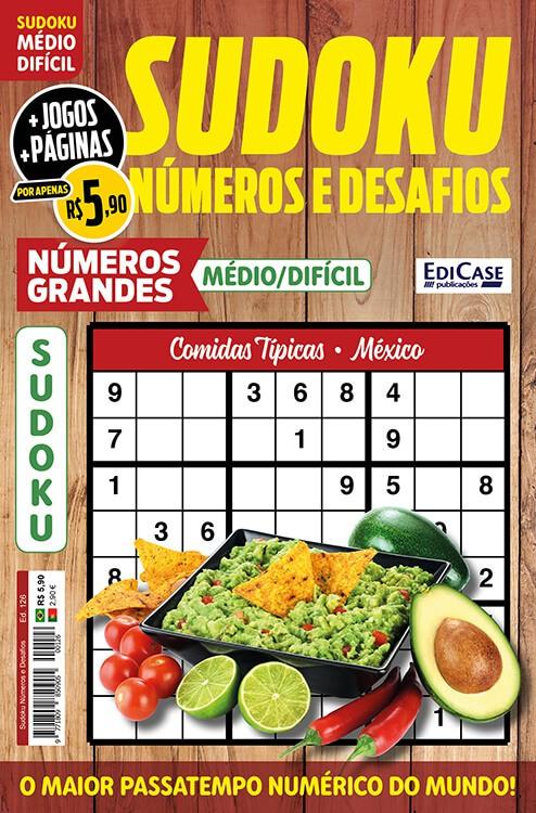 Sudoku Números e Desafios Ed. 126 - Médio/Difícil - Só Jogos 9x9 - Números Grandes - Comidas típicas - México  - EdiCase Publicações