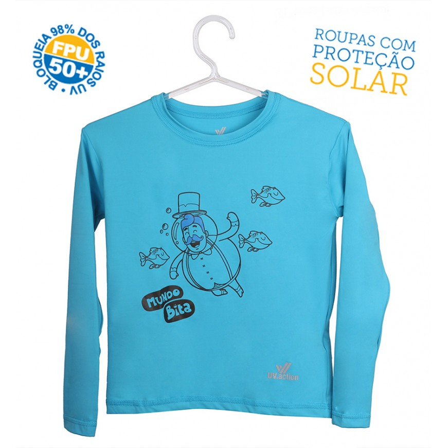Camiseta Mundo Bita Azul Longa – UV.action  - Lojinha do Bita