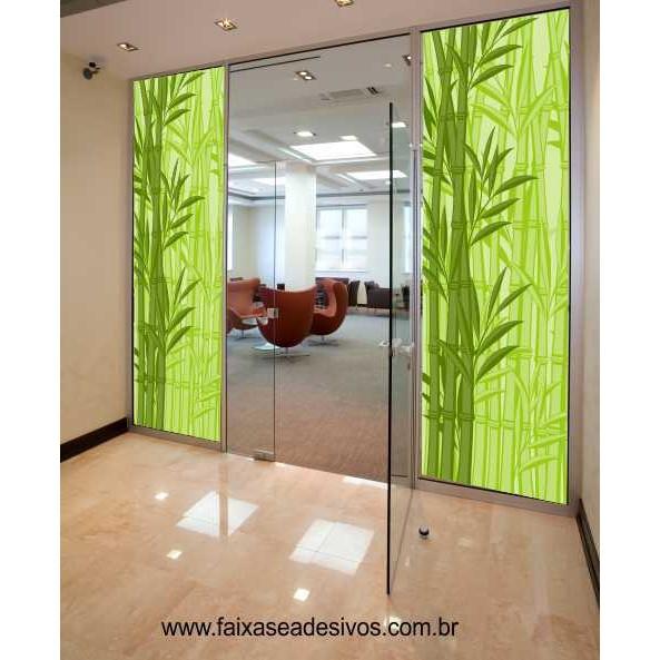 Armarinhos Barros Artesanato ~ 002 Adesivo Decorativo para Vidro 220x95cm BAMBU FAC Signs Impress u00e3o Digital