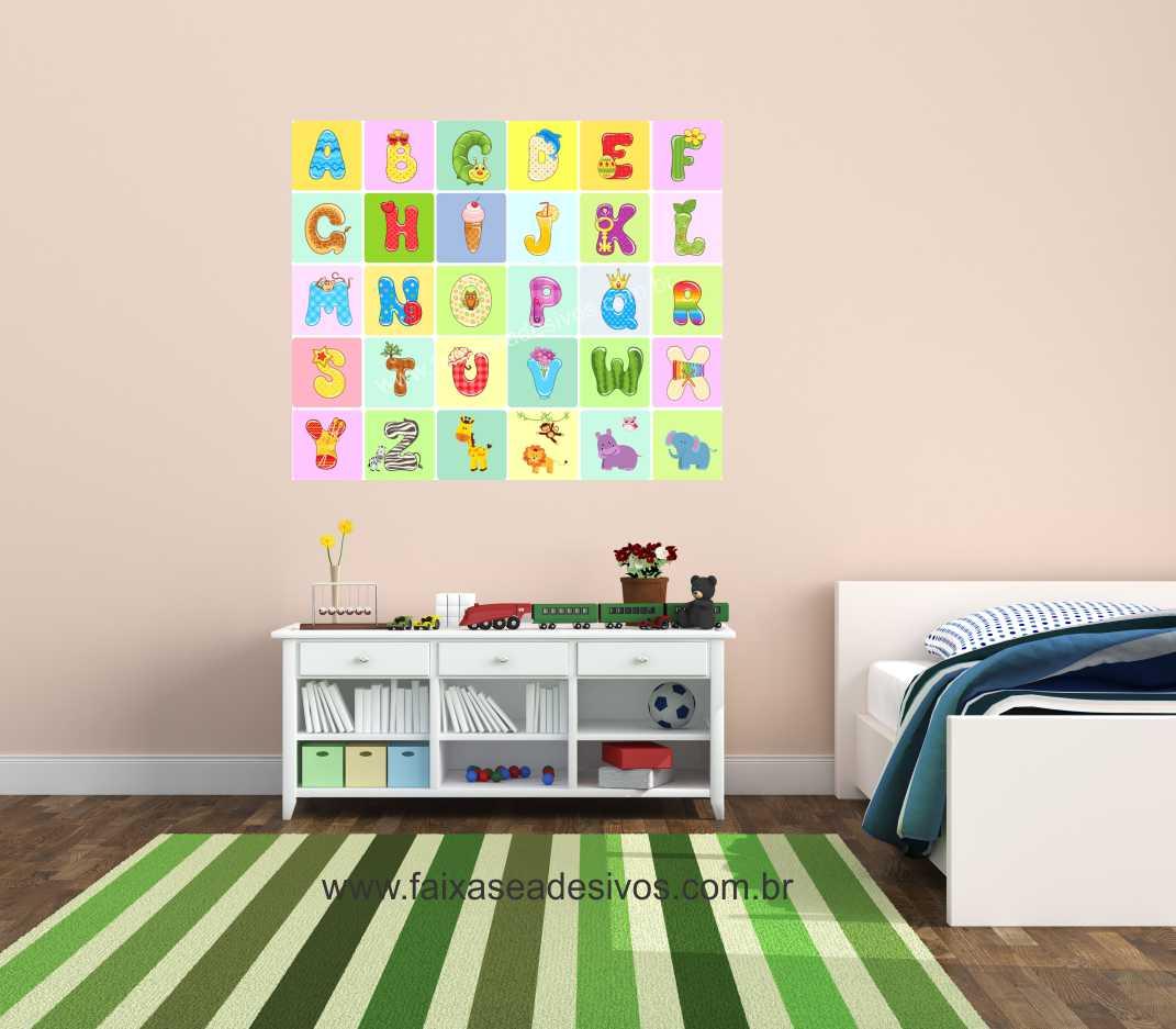 Adesivo De Impressão ~ Adesivo decorativo de parede infantil Alfabeto 1,00×0,85m P103 FAC Signs Impress u00e3o Digital