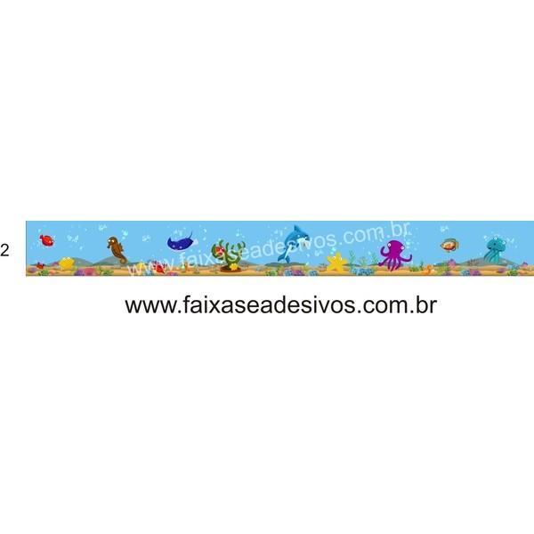 Artesanato Valença Rj ~ Faixa Adesivo de parede Fundo do Mar 12cm FAC Signs Impress u00e3o Digital