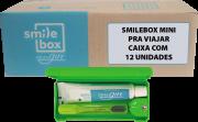 Cx c/ 12un. SmileBox MINI OralGift pra viajar - Kit Estojo com proteção contra vírus e bactérias. Contém 01 fio dental de 25m + 01 escova dental  cerdas EXTRA MACIAS + 01 pasta dental 30g. R$ 27,70 un