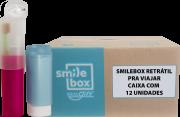 Cx c/ 12un. SmileBox RETRÁTIL OralGift pro trabalho - Kit Estojo c/ proteção contra vírus e bactérias. Contém 01 fio dental de 25m + 01 escova dental cerdas EXTRA MACIAS+ 01 creme  30g. R$ 28,79 un.