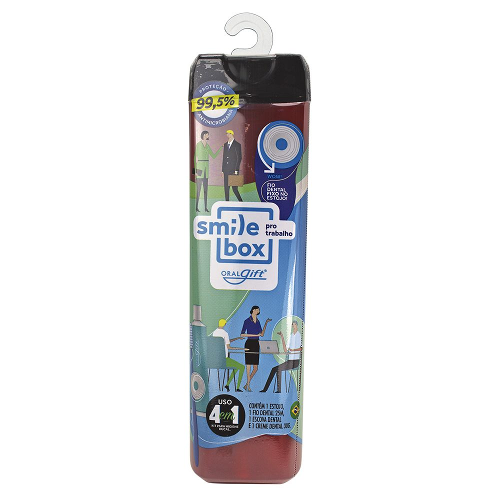 SmileBox MAX OralGift pro trabalho - Kit Estojo com proteção contra vírus e bactérias. Contém 01 fio dental de 25m + 01 escova dental + 01 pasta dental 30g com flúor.