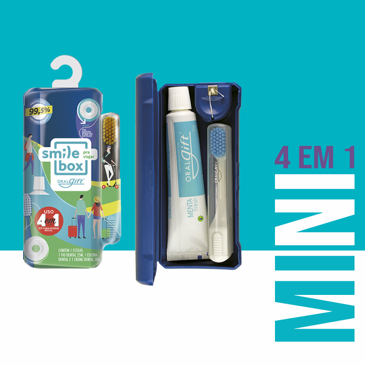 SmileBox MINI OralGift pra viajar - Kit Estojo com proteção contra vírus e bactérias. Contém 01 fio dental de 25m + 01 escova dental com cerdas EXTRA MACIAS+ 01 pasta dental 30g com flúor.