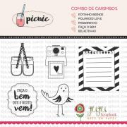 Combo de Carimbos Modelo Passarinho - Coleção Picnic / JuJu Scrapbook