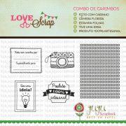 Combo de Carimbos Modelo Câmera Florida - Coleção Love Scrap / JuJu Scrapbook
