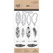 Carimbo + Die - Stamp Cut Feathers / Art C