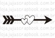 Carimbo Modelo Flecha e Corações - Coleção Família para Sempre / JuJu Scrapbook