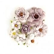 Flores Decorativas Rose Quartz Cinza - Prima Marketing