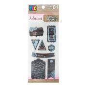 Adesivos Tags em madeira modelo