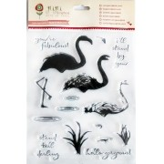 Cartela de Carimbos em Silicone - Modelo Flamingos - Juju Scrapbook