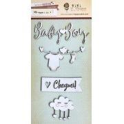 Cartela de Enfeites Baby Boy - Coleção Meu Coração é Seu / JuJu Scrapbook