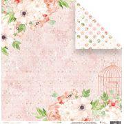 Coleção Shabby Dreams by Babi Kind - Papel Floral Rosé / JuJu Scrapbook