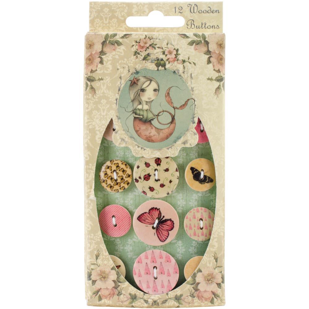 Wooden Buttons - Mirabelle / SNBN003  - JuJu Scrapbook