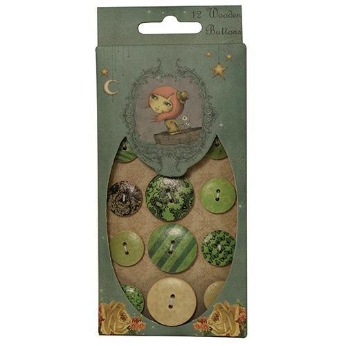 Wooden Buttons - Mirabelle / SNBN002  - JuJu Scrapbook