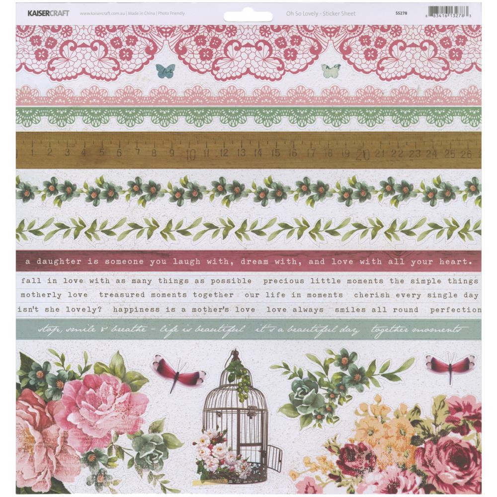 Cartela de Adesivos Coleção Oh So Lovely - KaiserCraft  - JuJu Scrapbook