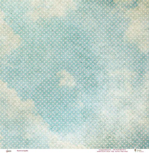 """Kit com 12 - Papel """"Nuvem de Algodão""""- Coleção Picnic / JuJu Scrapbook  - JuJu Scrapbook"""