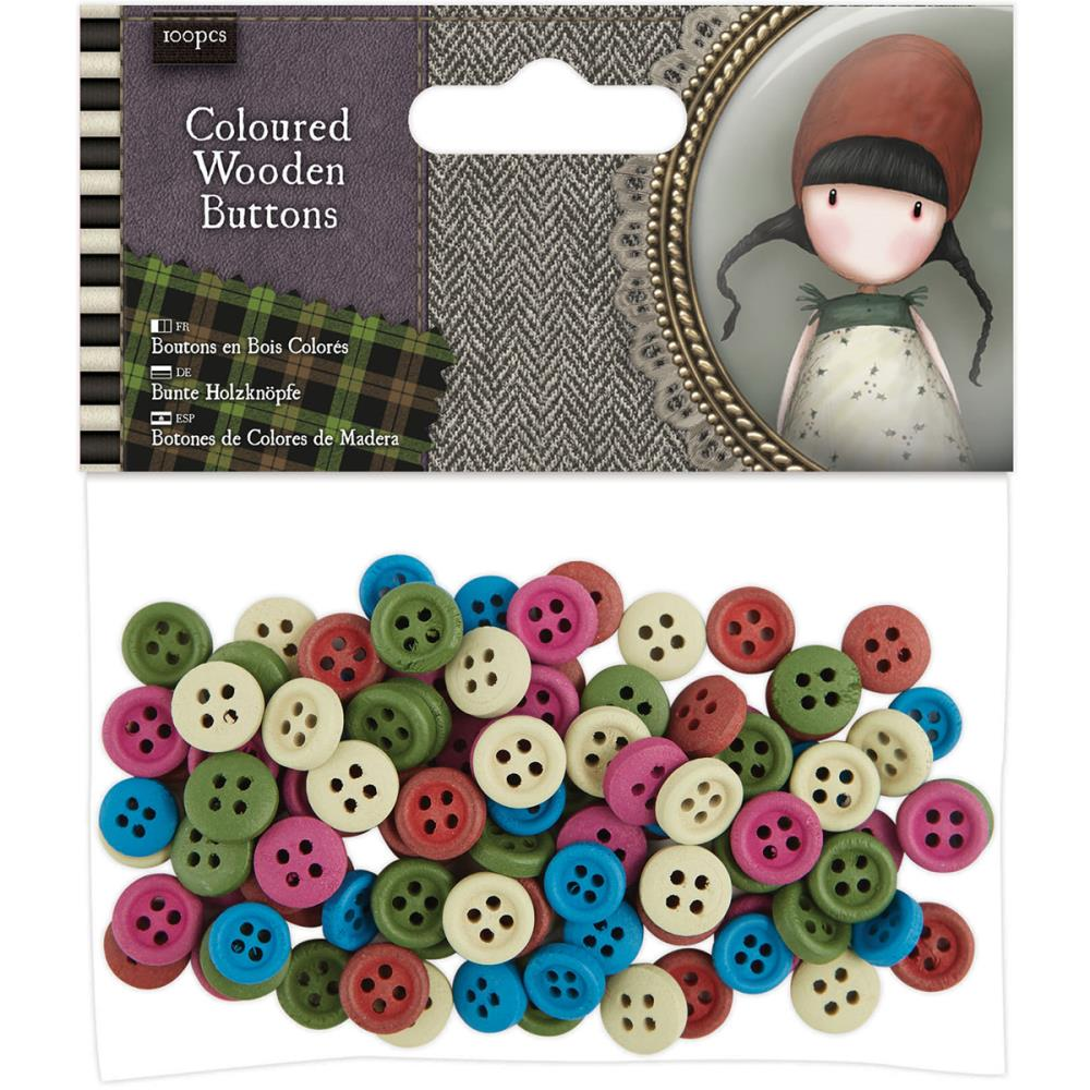 Coloured Wooden Buttons - Gorjuss  - JuJu Scrapbook