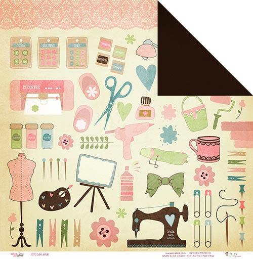 """Kit com 12 - Papel """"Feito com Amor""""- Coleção Love Scrap / JuJu Scrapbook  - JuJu Scrapbook"""