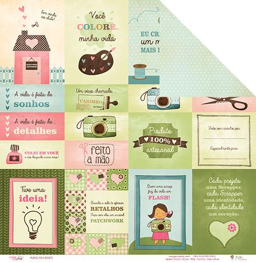 """Kit com 12 - Papel """"Mundo mais Bonito"""" - Coleção Love Scrap / JuJu Scrapbook  - JuJu Scrapbook"""