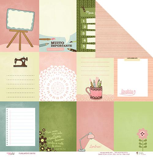 """Kit com 12 - Papel """"Planejamento Criativo"""" - Coleção Love Scrap / JuJu Scrapbook  - JuJu Scrapbook"""