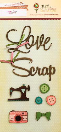 Cartela de Enfeites - Coleção Love Scrap / Juju Scrapbook  - JuJu Scrapbook