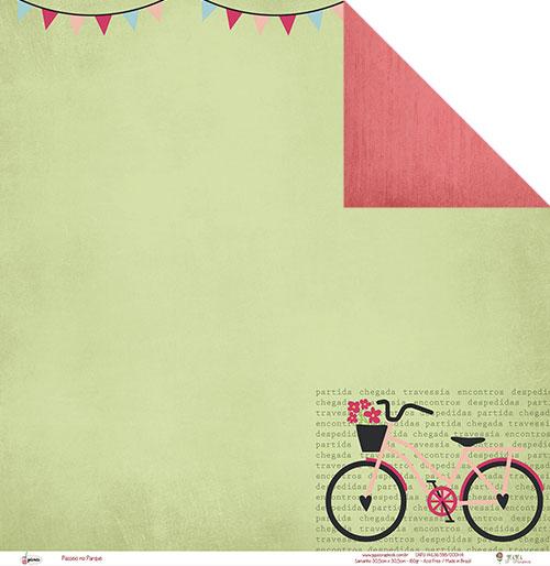 """Kit com 12 - Papel """"Passeio no Parque"""" - Coleção Picnic / JuJu Scrapbook  - JuJu Scrapbook"""
