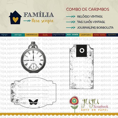 Combo de Carimbos Modelo Relógio - Coleção Família para Sempre / JuJu Scrapbook  - JuJu Scrapbook