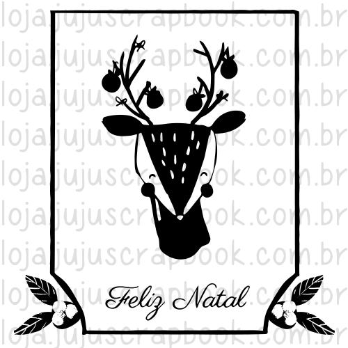 Carimbo Modelo Bambi Feliz Natal - Coleção Noite Feliz / Juju Scrapbook  - JuJu Scrapbook