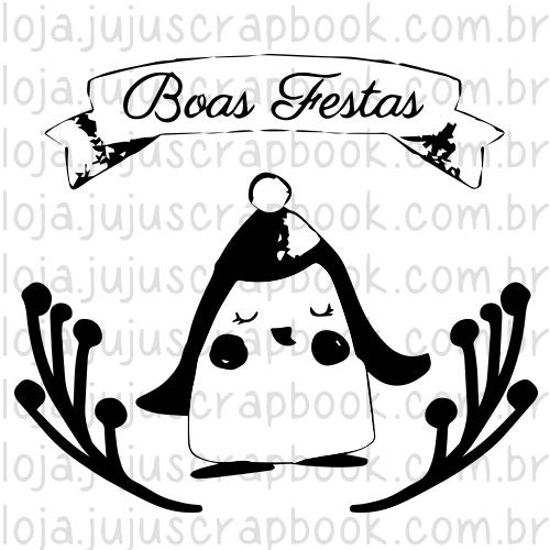 Carimbo Modelo Pinguim Boas Festas - Coleção Noite Feliz / Juju Scrapbook  - JuJu Scrapbook