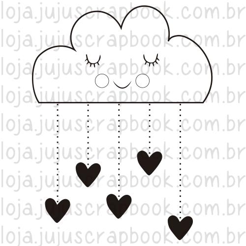 Carimbo Modelo Chuva de Corações - Coleção Família para Sempre / JuJu Scrapbook  - JuJu Scrapbook
