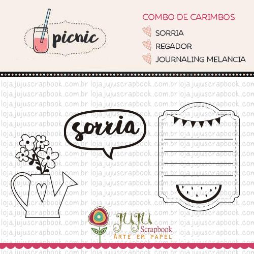 Combo de Carimbos Modelo Sorria - Coleção Picnic / Juju Scrapbook  - JuJu Scrapbook