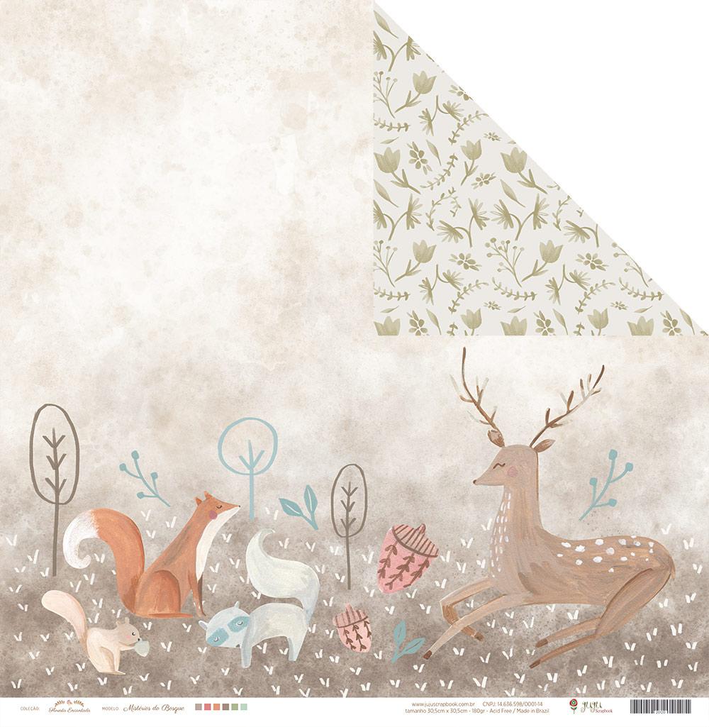 Kit com 12 - Papel Modelo Mistério do Bosque - Coleção Floresta Encantada / JuJu Scrapbook  - JuJu Scrapbook