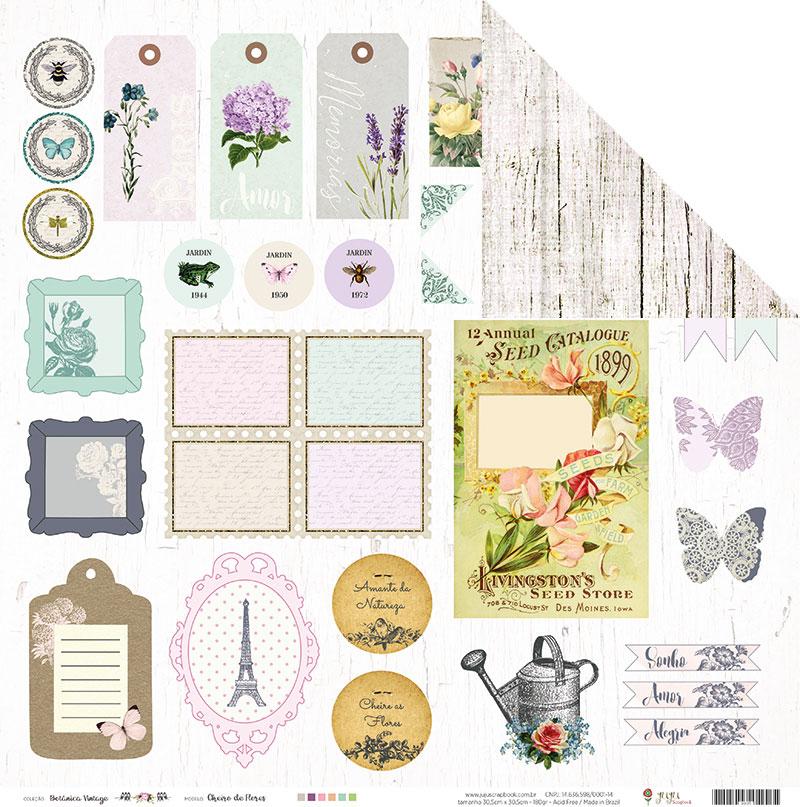 Papel Modelo Cheiro de Flores - Coleção Botânica Vintage / Juju Scrapbook  - JuJu Scrapbook