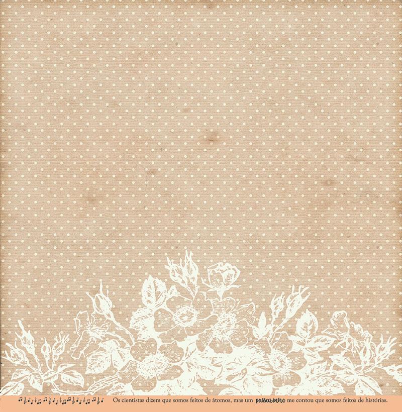 Kit com 12 - Papel Modelo Um Passarinho me Disse - Coleção Botânica Vintage / Juju Scrapbook  - JuJu Scrapbook