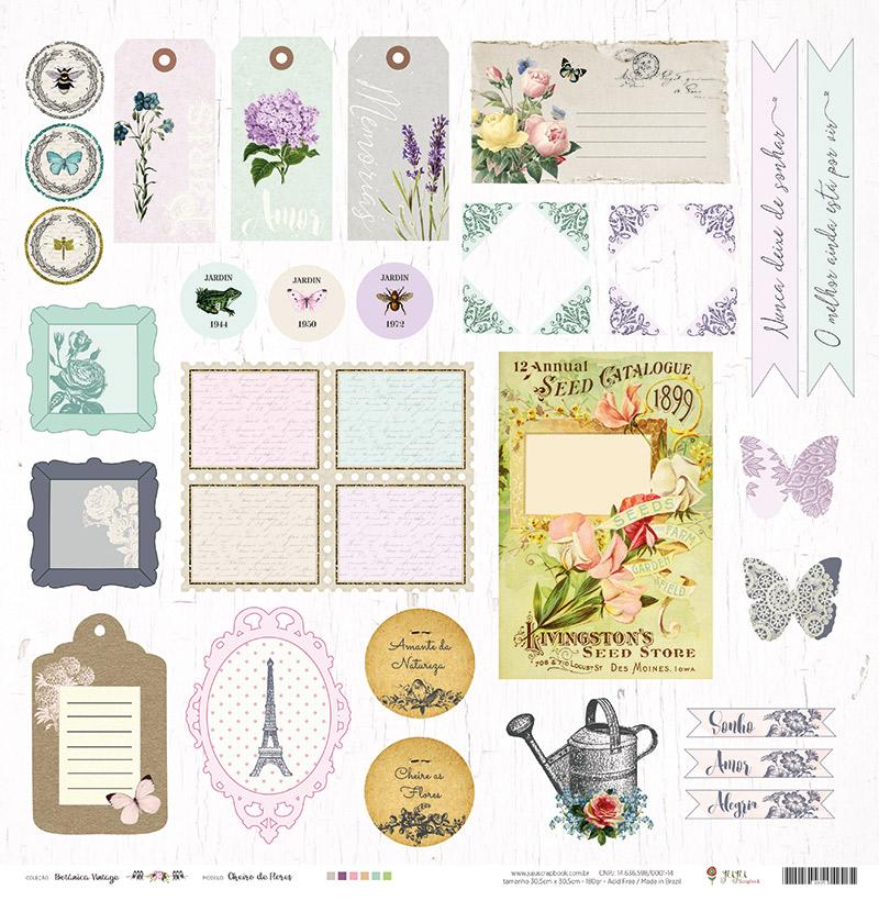 Kit com 12 - Papel Modelo Cheiro de Flores - Coleção Botânica Vintage / Juju Scrapbook  - JuJu Scrapbook