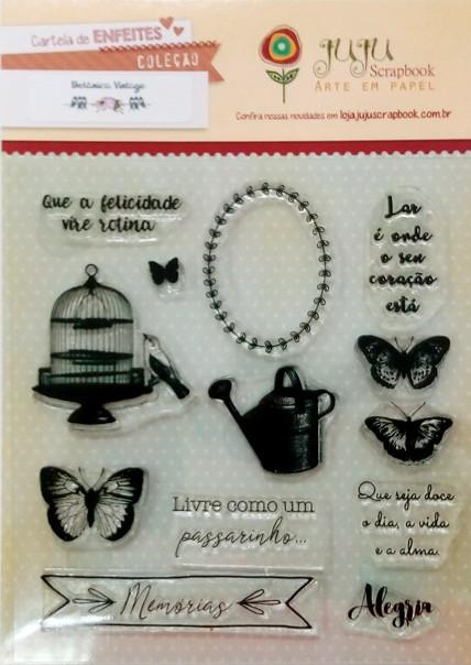 Cartela de Carimbos em Silicone - Modelo Memórias - Coleção Botânica Vintage / Juju Scrapbook  - JuJu Scrapbook