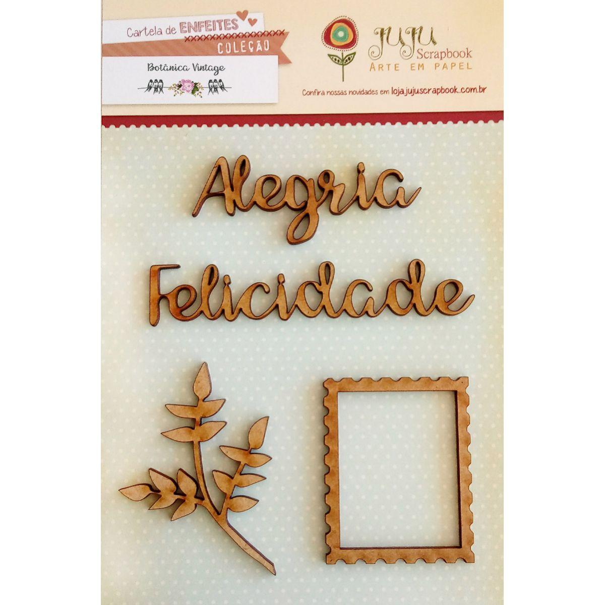 Cartela de Enfeites - Modelo Alegria - Coleção Botânica Vintage / Juju Scrapbook  - JuJu Scrapbook