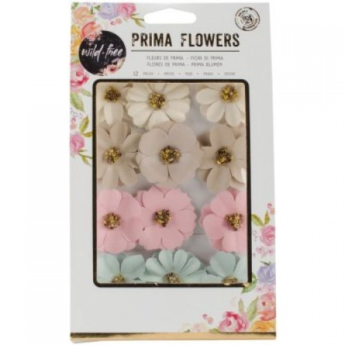 Flores Decorativas Coloridas Wild & Free - Prima Marketing   - JuJu Scrapbook