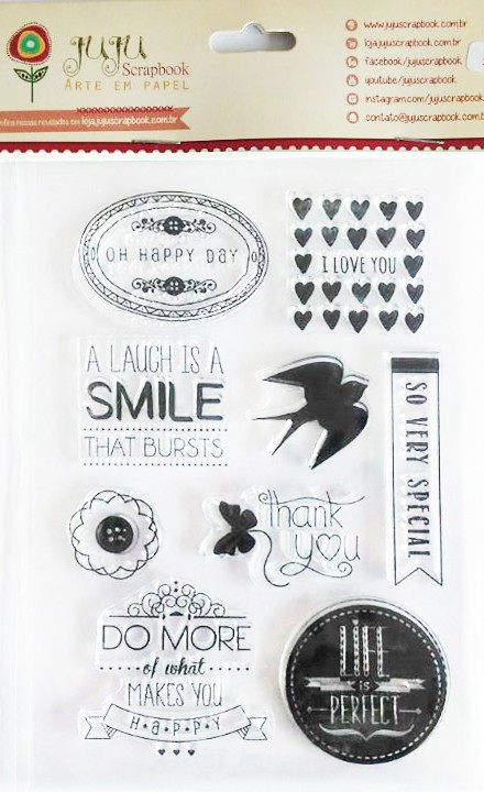 Cartela de Carimbos em Silicone - Modelo Life is Perfect -  Juju Scrapbook  - JuJu Scrapbook