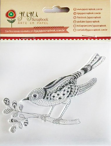 Carimbo em Silicone - Modelo Pássaro - Juju Scrapbookk  - JuJu Scrapbook