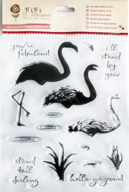 Cartela de Carimbos em Silicone - Modelo Flamingos - Juju Scrapbook  - JuJu Scrapbook