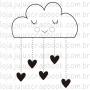 Carimbo Modelo Chuva de Corações - Coleção Família para Sempre / JuJu Scrapbook